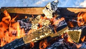 Brinnande vedträ i spisen arkivbilder