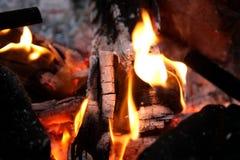 Brinnande vedträ i spisslutet upp Arkivfoto
