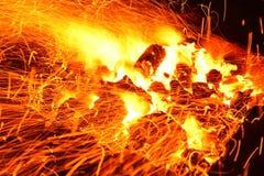 Brinnande vedträ i spisslutet upp Royaltyfria Bilder