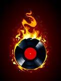 Brinnande vinylrekord Royaltyfri Fotografi