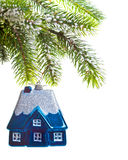 Brinque a casa em um árvore-sonho de ano novo sobre a casa Fotos de Stock Royalty Free