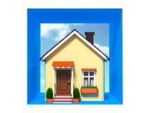 Brinque a casa no fundo do céu no quadrado Fotografia de Stock Royalty Free