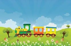 Brinque a equitação do trem na paisagem do prado do verão da mola com raios do sol ilustração stock