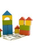 Brinque o bloco e o dinheiro Imagens de Stock Royalty Free