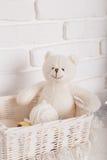 Brinque o urso de peluche na cesta na tabela de madeira imagem filtrada retro Fotografia de Stock