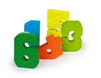 Brinquedo antigo figuras de madeira coloridas Fotos de Stock