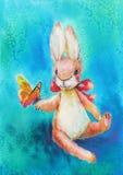 Brinquedo bonito do coelho da aquarela com borboleta Foto de Stock Royalty Free