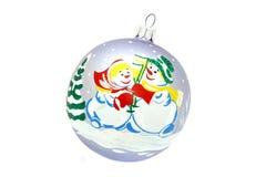 Brinquedo da árvore de Natal da bola do boneco de neve fotografia de stock royalty free