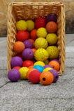 Brinquedo da bola para a cesta de vime dos cães Fotografia de Stock Royalty Free