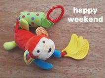 Brinquedo da criança e fim de semana feliz Fotos de Stock