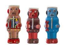 Brinquedo da lata dos robôs/branco isolado fotografia de stock