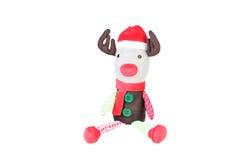 Brinquedo da rena do Natal no fundo branco Toy Reindeer macio Imagens de Stock