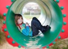 Brinquedo da tubulação da câmara de ar da criança do campo de jogos Fotos de Stock Royalty Free