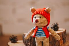 Brinquedo de Amigurumi TeddyBear Fotos de Stock Royalty Free