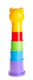 Brinquedo de Childs que empilha copos no fundo Imagens de Stock Royalty Free
