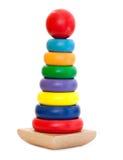 Brinquedo de madeira colorido da pirâmide Fotos de Stock Royalty Free