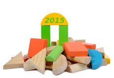 Brinquedo de madeira 2015 da construção Fotografia de Stock Royalty Free