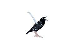 Brinquedo de madeira do Natal - corvo em um branco Fotografia de Stock