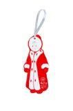 Brinquedo de madeira do Natal - donzela da neve Isolado no branco Imagens de Stock
