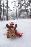Brinquedo de Papai Noel nos cervos na floresta Fotografia de Stock Royalty Free