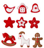 Brinquedo de suspensão da decoração do Natal, fundo branco, decoração do Xmas Imagens de Stock