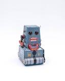 Brinquedo do robô do tanque do vintage em um fundo branco Imagens de Stock