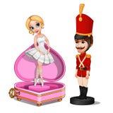Brinquedo do soldado e caixa de música de madeira com bailarina ilustração stock