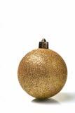 Brinquedo dourado da esfera do Natal Fotografia de Stock Royalty Free