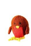 Brinquedo feito malha B do pisco de peito vermelho Foto de Stock
