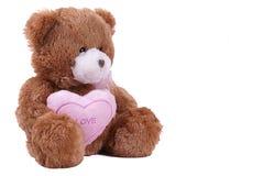Brinquedo isolado do urso com coração fotografia de stock