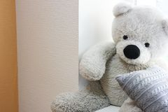 Brinquedo macio na janela Urso imagens de stock