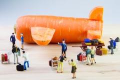 Brinquedo minúsculo que viaja pelo plano feito das cenouras Fotografia de Stock