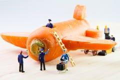 Brinquedo minúsculo que viaja pelo plano feito das cenouras Fotos de Stock