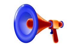 Brinquedo plástico do megafone multicolorido lustroso retro vermelho projeto do divertimento dos desenhos animados 3D, anunciando ilustração stock