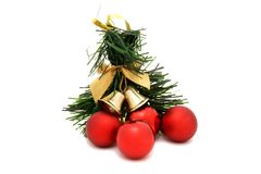 Brinquedo vermelho da árvore de Natal da bola Fotografia de Stock Royalty Free