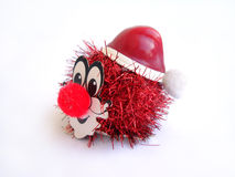 Brinquedo vermelho do palhaço em um fundo branco fotos de stock royalty free
