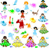 Brinquedos, animais, miúdos ilustração stock