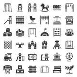 Brinquedos, campo de jogos e ícone dos passeios, projeto contínuo ilustração royalty free