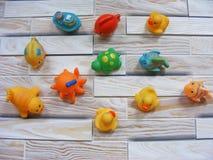 brinquedos coloridos do banho do bebê para a criança fotografia de stock royalty free