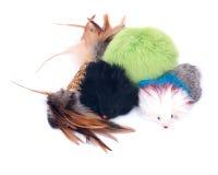 Brinquedos coloridos do gato Fotografia de Stock