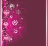 Brinquedos cor-de-rosa do Natal com flocos de neve. Bandeira ilustração royalty free