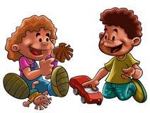 Brinquedos da menina e do menino Fotografia de Stock Royalty Free