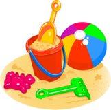 Brinquedos da praia - balde, pá, esfera Imagem de Stock Royalty Free