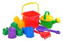 Brinquedos da praia das crianças isolados no branco Foto de Stock Royalty Free