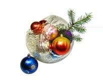 Brinquedos de ano novo e filial do abeto Fotos de Stock Royalty Free