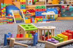 Brinquedos de madeira da cor Foto de Stock Royalty Free