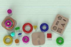 brinquedos de madeira da rendição 3D para crianças imagem de stock