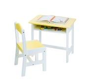 Brinquedos de madeira da tabela e da cadeira para crianças Fotos de Stock Royalty Free