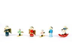 Brinquedos de madeira do Natal Fotografia de Stock