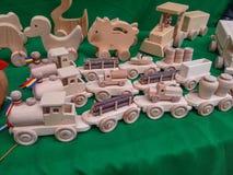 Brinquedos de madeira feitos à mão Fotos de Stock